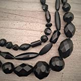 Unique Chunky Black Hand Knotted Asymmetrical Triple Strand Necklace Made from Victorian Mourning Jewelry Beads OOAK