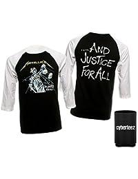 Metallica Justice For All Black Raglan Longleeve Baseball Jersey T-Shirt + Coolie