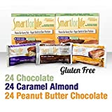 Smart For Life High Protein Bars, Chocolate, Peanut Butter Chocolate and Caramel Almond Protein Bars,72 Pieces