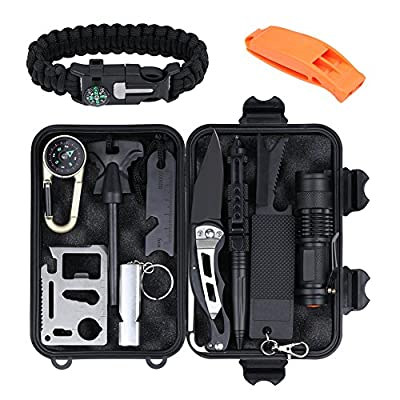 Emergency Survival Gear Kit 13 in 1,Outdoor Survival Tools Set with Tactical Pen,Fire Starter,Survival Bracelet,Compass,Flashlight,Folding Knife for Camping Hiking Hunting Wilderness Adventures by Iteryn