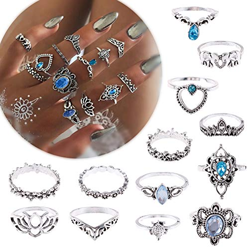 MeiMeiDa 13 Pcs Vintage Knuckle Ring Set - Opal and Turquoise Joint Knuckle Rings for Women Girls Bohemian Five Finger Stackable Midi Rings Set Hollow Carved Flowers