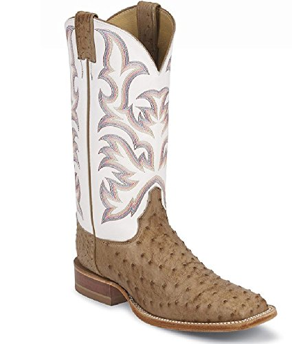Justin Boots Men#039s USA Aqha Lifestyle Collection 13quot Remuda Series Boot Wide Square Double Stitch ToeAntique Tan Vintage Full Quill Ostrich/White Delegance Cowhide105 D US
