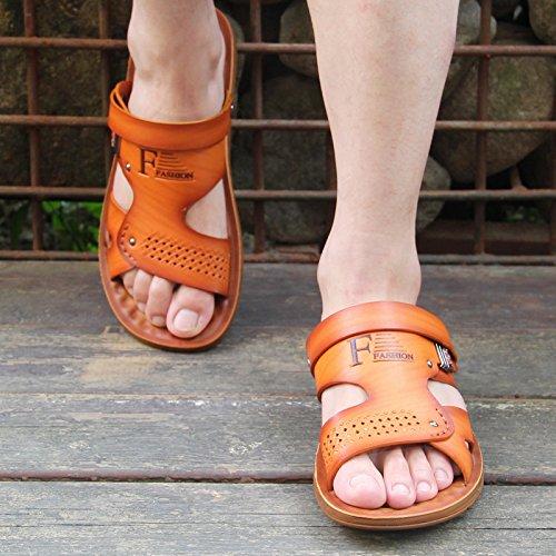 ZHANGJIA Sommer Rutschfeste Hausschuhe, Herren Sandalen, Dual-Purpose Legere Schuhe, Sandalen, Hausschuhen, 38, Licht Gelb 39915