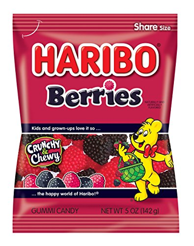 Gummi Red Raspberries - Haribo Gummi Candy, Berries, 5-Ounce Bags (Pack of 12)