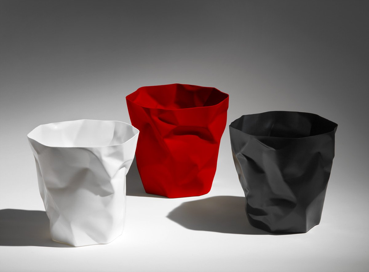 Essey bin bin corbeille À papier noire effet froissé design john