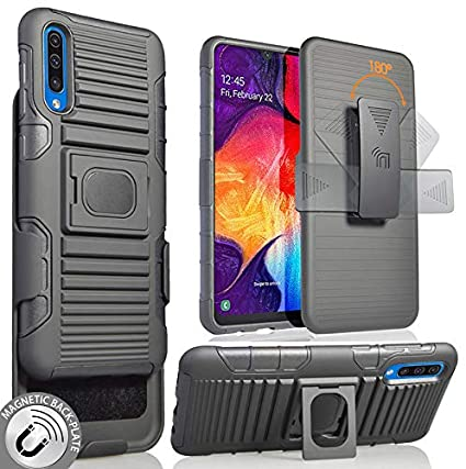 Galaxy A50 Case with Clip, Nakedcellphone Black Rugged Ring Grip Cover + Belt Hip Holster Stand [with Built-in Mounting Plate] for Samsung Galaxy A50 ...