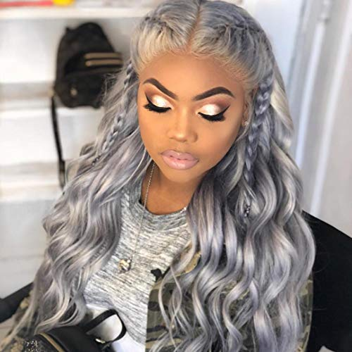 Silver Grey Human Hair Wigs 100% Brazilian Lace Front Wig Full Lace Wigs With Baby Hair Around by Wicca (14