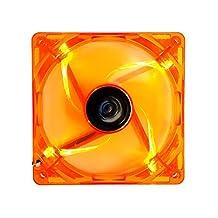 APEVIA AF512L-OG 4 Pin Plus 3 Pin LED Case Fan Best Value, 120 mm, Orange, 5 Piece
