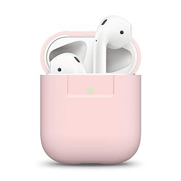 elago Custodia in Silicone Compatiblile con Apple AirPods 1 andamp; 2 (LED anteriore Visibile) - [Funziona la Ricarica Wireless] [Inserimento Perfetto] - Rosa