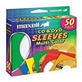 Maxell CD-401 CD/DVD Sleeves 50pk Color