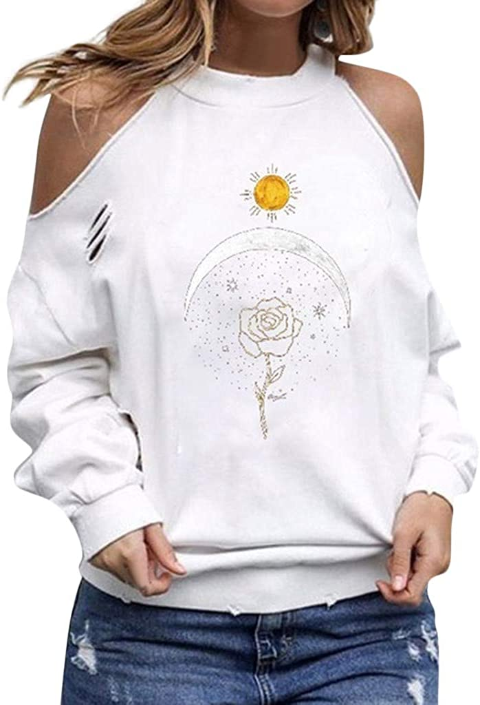 Miuye yuren-Women Long Sleeve Tops and Blouses Fashion Off Shoulder Floral Print T Shirt Round Neck Graphic Tees