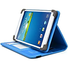 HKC 7 Inch Tablet Case, UniGrip PRO Series - LIGHT BLUE - By Cush Cases (Case Features Top Quality PU Leather with Bulit In Stand, Hand Strap, 3 Card Slots and SIM Card Holder)