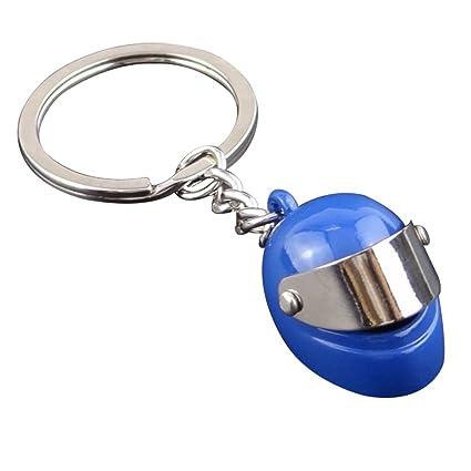 iTemer 1 artículo Llaveros para Parejas Llaveros casa Llaveros Personalizados Anillas para llaveros Noble Etiqueta privada Metal Azul Casco de Moto