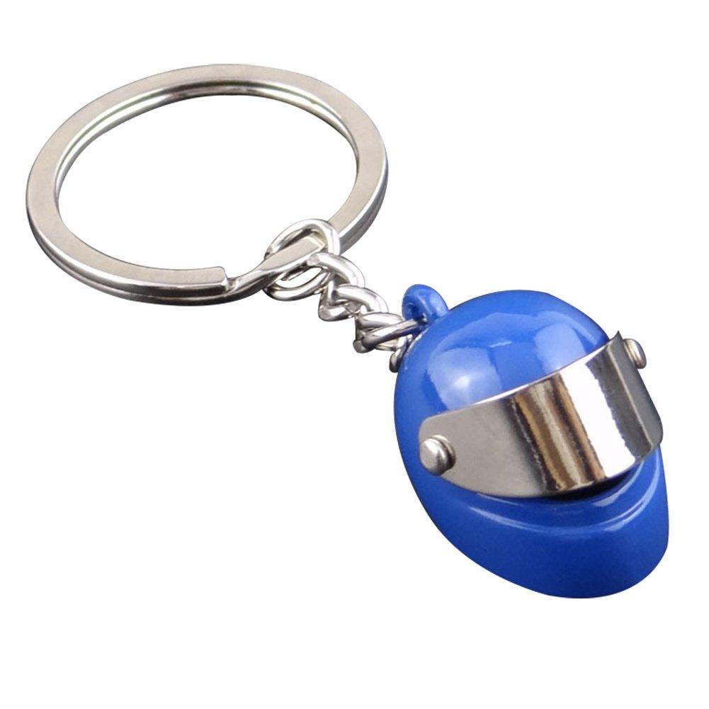 LAMEIDA Personalized Key Chains for Men Key Rings Motorcycle Helmet Shape Pendant for Cellphone Car Key Purse Bag (Blue)