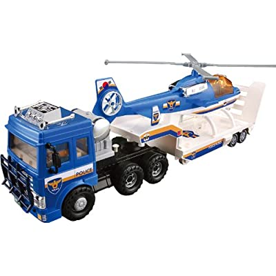 Small World Toys Vehicles - Police Helicopter Truck Transporter (friction powered): Toys & Games