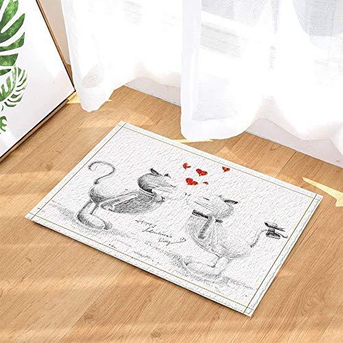 KeepSports Animal Decor Sketched Cats Kiss Little Hearts Bath Rugs Bathroom Non-Slip Floor Entryways Outdoor Indoor Front Door Mat Kids Bath Mat 15.7x23.6in White Red