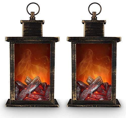 Decorative Realistic Fireplace Lantern and Battery Operated USB Operated 6 Hour Timer Included Tabletop Fireplace Lantern Indoor/Outdoor Fireplace Lamp 1 PC Black (Lanterns Fireplace)