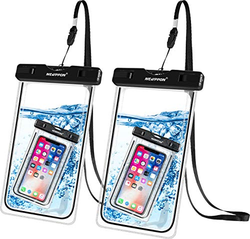 Newppon Waterproof Cell Phone Pouch :IPX8 Universal Dry Bag for iPhone Xs Max XR XS X 8 7 6S Plus Samsung Galaxy S9 S9+ S8 S8+ Note 8 6 5 4 Pixel 3 XL 2 LG V20 with Slim Case (2-Pack) (Cellular Phone Pouch)