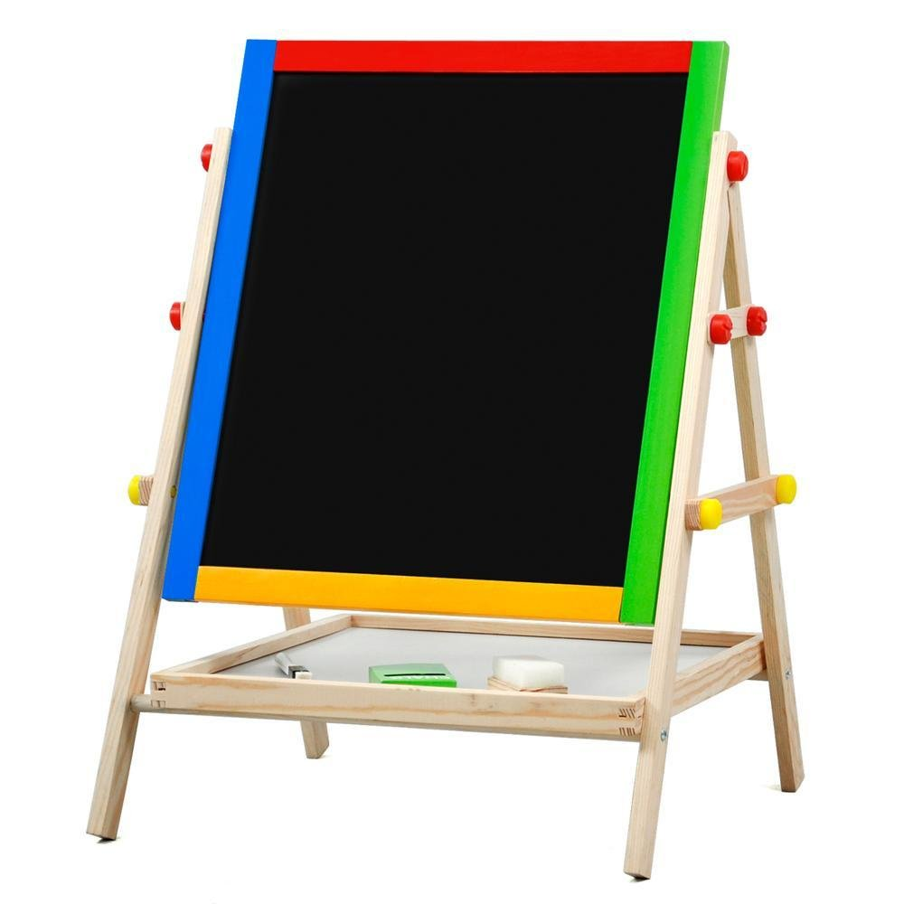 World Pride Kids Childrens 2 In 1 Black/White Wooden Standing Easel Chalk Drawing Board, 21-25.6 x 14.8 x 13.4''