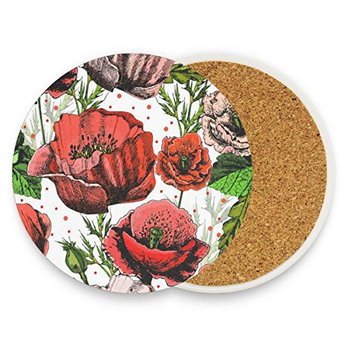 Goblet Place Card Holders - LoveBea Bright Colorful Poppies Coasters, Prevent Furniture from Dirty and Scratched, Round Cork Coasters Set Suitable for Kinds of Mugs and Cups, Living Room Decorations Gift Set of 2