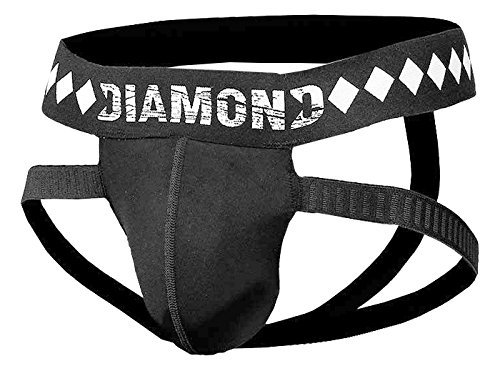 Diamond MMA Four-Strap Jock Strap Supporter with Built-in Athletic Cup Pocket for Sports, Large