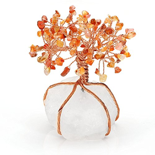 Top Plaza Chakra Healing Crystals Red Agate Copper Tree of Life Wrapped On Natural Clear Quartz Crystal Base Money Tree Feng Shui Luck Figurine Decoration ()