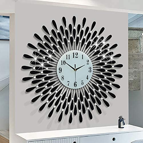 FLEBLE 27.5 inch Large Black Drop Wall Clock Non-Ticking Silent Quartz Metal Clocks,White Glass Dial
