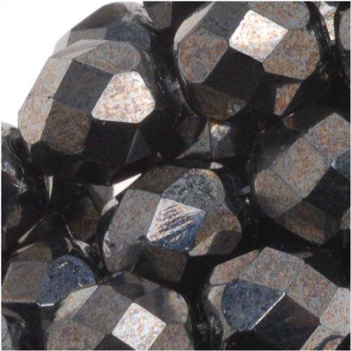 Metallic Hematite Czech Glass (UnCommon Artistry Czech Fire Polish Glass Beads 8mm Round Metallic