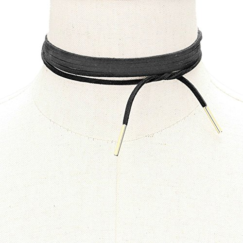 Ginga's Galleria Wrap Around Tie Choker Suede Leather Metal Bar Tip Necklace (Gold Wrap Necklace)