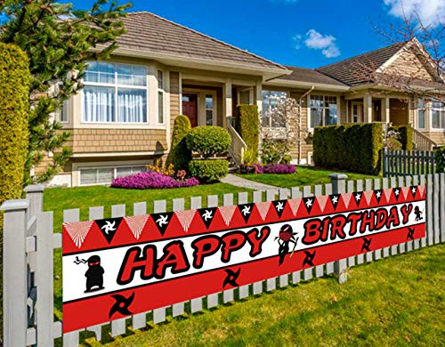 Colormoon Large Ninja Happy Birthday Banner, Ninja Warrior Birthday Party Decorations, Samurai Birthday Party Decorations (9.8 x 1.5 feet) (Ninja Happy Birthday Banner)