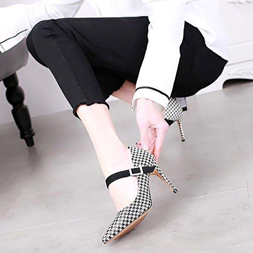SSBY Ein 9Cm High Heels Mit Einem Feinen Flachen Mund Mode Sexy Maxmara Eine Gürtelschnalle Mit Schuhen 39 Houndstooth