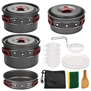 Odoland Camping Cookware Kit Non Stick Camping Pans for 3 to 5 People Portable Cook Set for Camping Hiking BBQ Picnic…