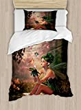 Ambesonne Fairy Duvet Cover Set Twin Size, Girl with Wings and Butterflies Digital Composition Computer Graphics Elven Creature, Decorative 2 Piece Bedding Set with 1 Pillow Sham, Multicolor