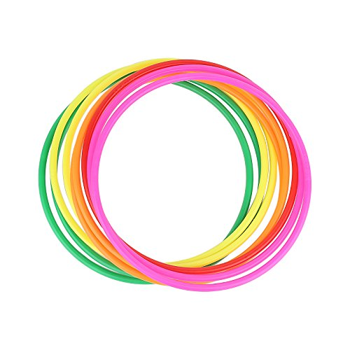 Crystallove 12pcs Plastic Random Color Toss Rings for Carnival Garden Backyard Outdoor Games (7.5 Inch)