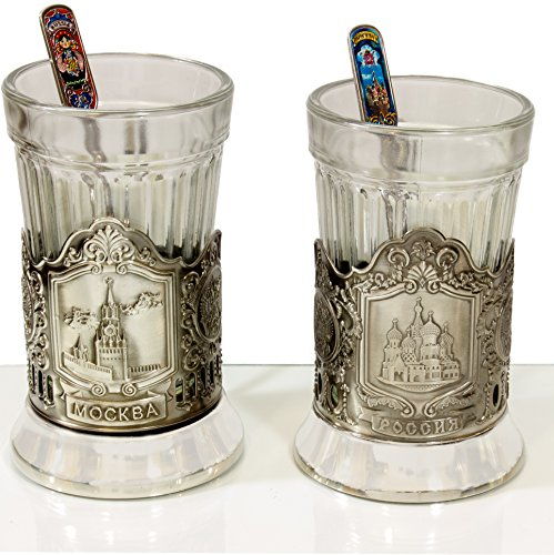 Set of 2 Russian Tea Glasses with Traditional Decorated Meta