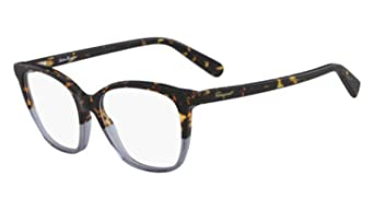 1fe61bfc8b7 Amazon.com  Eyeglasses FERRAGAMO SF 2817 259 HAVANA BLUE  Clothing