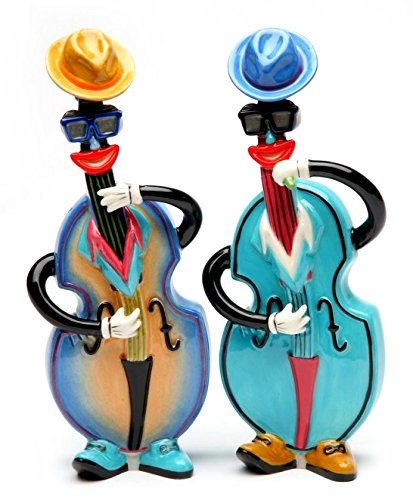 6.38 Inch Multicolored Blues and Jazz Basses Salt and Pepper Shaker