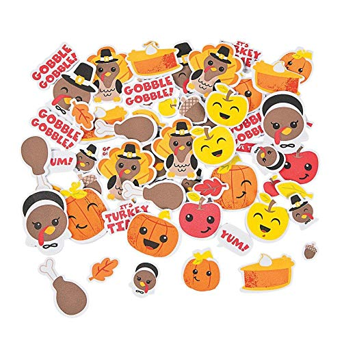 Fun Express Silly Thanksgiving Self Adhesive Foam Shapes, 500 Stickers