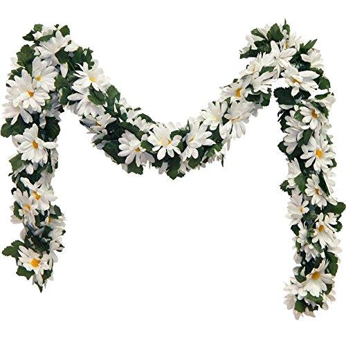 White Daisies Chain Garland 5 ft Silk Wedding Decoration Flowers Artificial Arrangement Arch Gazebo Decor Daisy