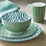 Better Homes and Gardens Piers Green Mix and Match 16 Piece Dinnerware Set