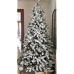 "KING OF CHRISTMAS 7.5 Foot King Flock Christmas Tree Unlit, 52"" Wide"