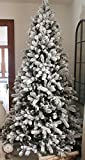 "KING OF CHRISTMAS 7.5 Foot King Flock Christmas Tree Unlit, 52"" Wide"