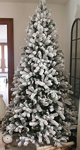 KING OF CHRISTMAS 7.5 Foot King Flock Christmas Tree Unlit, 52