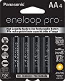 Panasonic BK-3HCCA4BA eneloop pro AA High Capacity Ni-MH Pre-Charged Rechargeable Batteries, 4 Pack, Black