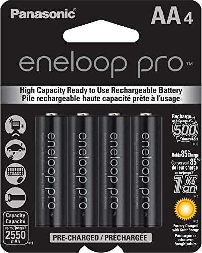 Panasonic BK-3HCCA4BA eneloop pro AA High Capacity Ni-MH Pre-Charged Rechargeable Batteries, 4 Pack