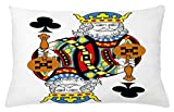 Ambesonne King Throw Pillow Cushion Cover, King of Clubs Playing Gambling Poker Card Game Leisure Theme Without Frame Artwork, Decorative Accent Pillow Case, 26 W X 16 L inches, Multicolor