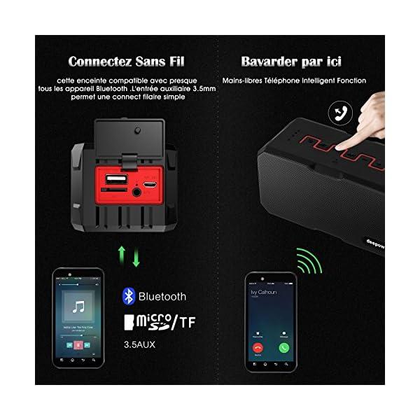 Enceinte Bluetooth Haut Parleur Bluetooth Waterproof Sans Fil Portable - Deepow 10W Enceinte Bluetooth Speaker Puissante étanche IP67 3000mAh Compatible Android iPhone TV et Autres Appareils Bluetooth 6