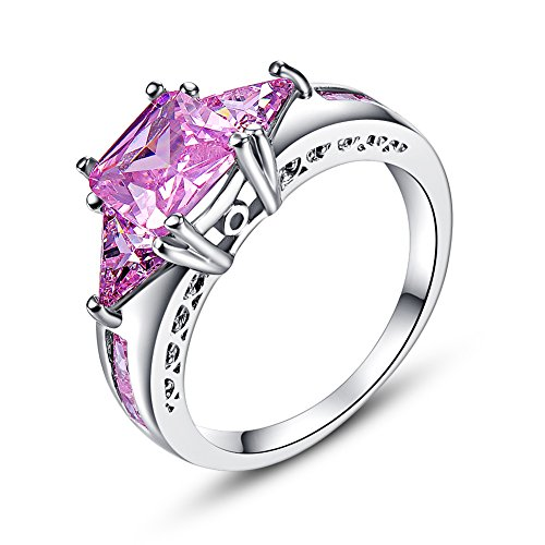 Humasol 925 Sterling Silver Filled Princess Cut Lab-Created Pink Topaz Engagement Promise Wedding Bridal Anniversary Ring