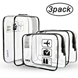 (3 Pack) ANRUI Clear Toiletry Bag TSA Approved Travel Carry On Airport Airline Compliant Bag Quart Sized 3-1-1 Kit Travel Luggage Pouch (Black)