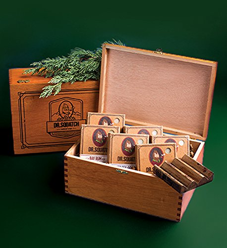 Mens Soap Gift Box by Dr. Squatch - Holiday Gift for Men - Includes 6 Bars of Natural Soap + Wooden Soap Saver + Squatch Wood Cigar Box